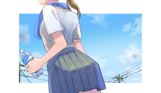 真夏に汗をかくポニーテールの女子高生のイラスト(昼間のバージョン)