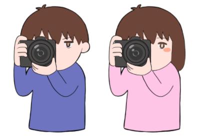 写真を撮る人のイラスト
