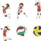 バレーボールをする女性選手のイラスト