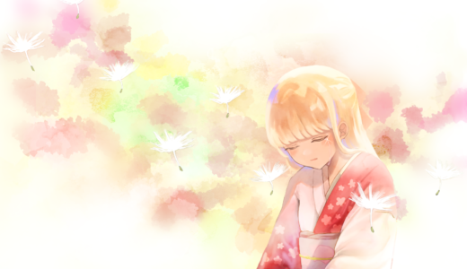 和服を着た女性が春の陽光の中で涙を流すイラスト