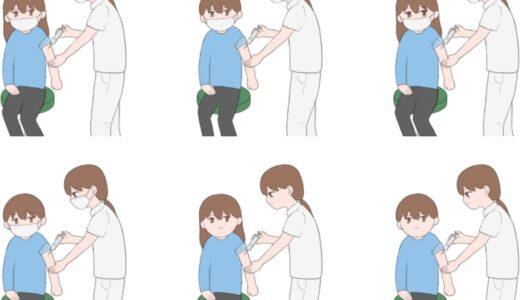 ワクチンを注射されている成人男性&女性のイラスト