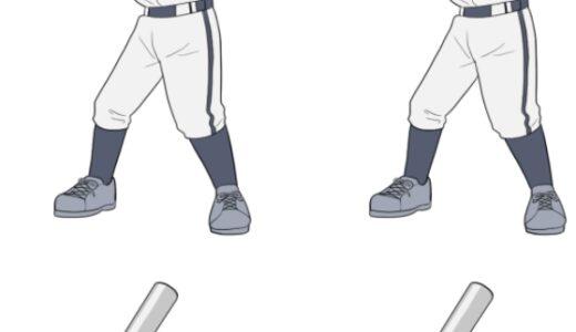 野球・バッティングをする少年少女のイラスト