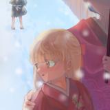 冬の日の少年との別れのイラスト