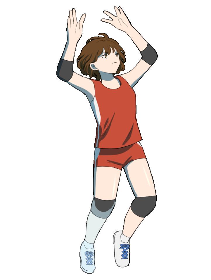 トスをする女性バレーボール選手のイラスト