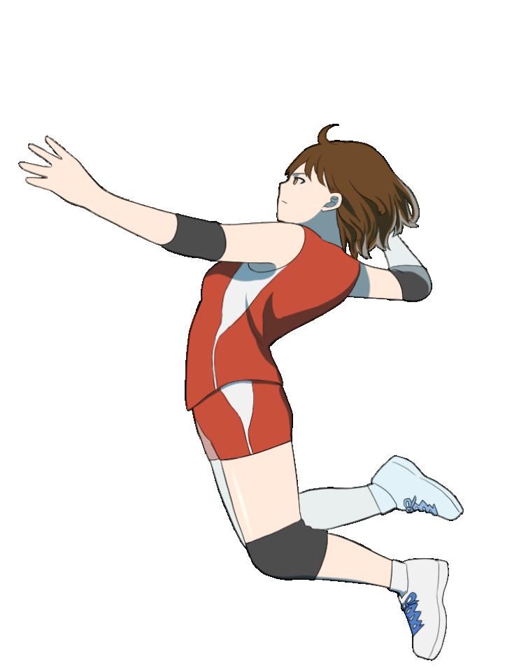 スパイクをする女性バレーボール選手のイラスト1