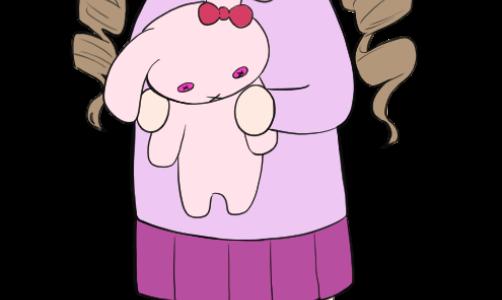 ウサギのぬいぐるみを抱いている女の子のイラスト