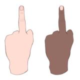 the middle finger(ミドルフィンガー)・中指を立てるハンドサインのイラスト
