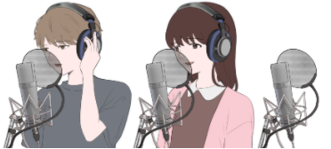 音楽、歌をレコーディングしている男女のイラスト