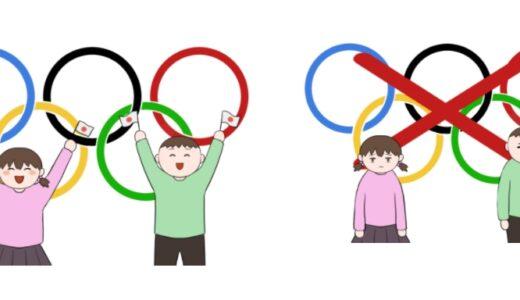 オリンピック開催を喜ぶ人と開催やオリンピック中止に落胆する人のイラスト(子供バージョン)