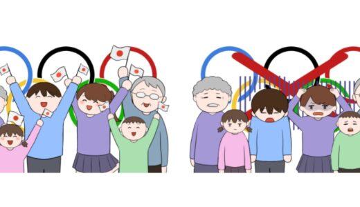 オリンピック開催を喜ぶ人と開催やオリンピック中止に落胆する人のイラスト(全員バージョン)