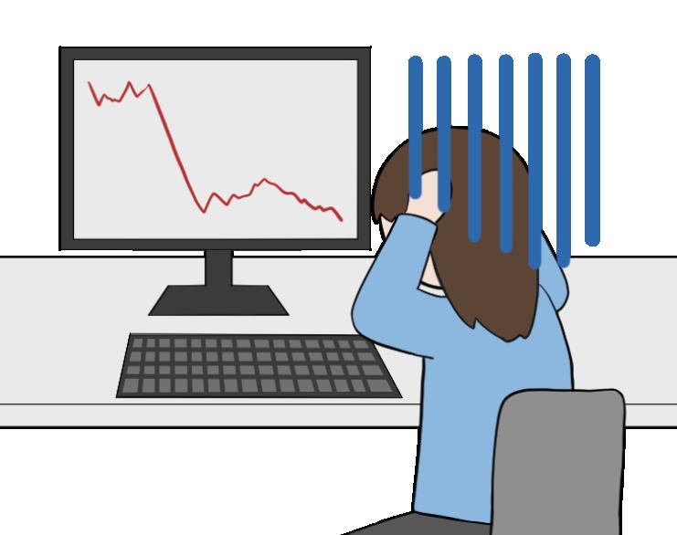 株価の暴落で大損する女性投資家のイラスト1