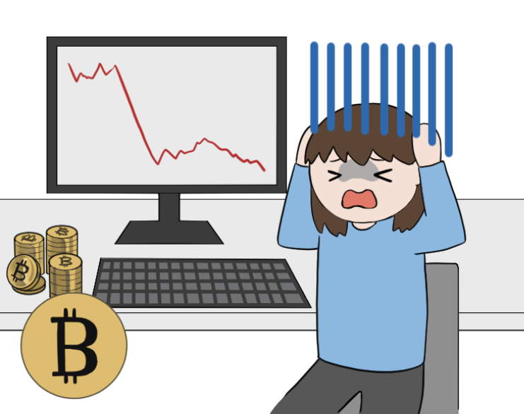 ビットコインの暴落で泣く女性投資家のイラスト2