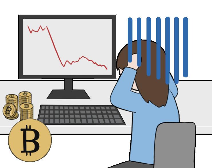 ビットコインの暴落で泣く女性投資家のイラスト1