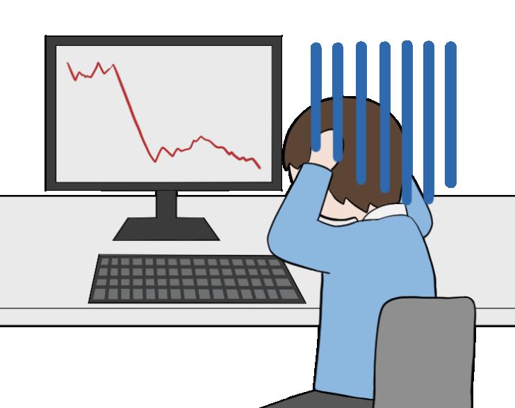 株価の暴落で大損する男性投資家のイラスト1