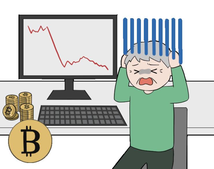 ビットコインの暴落で泣く老人投資家のイラスト1