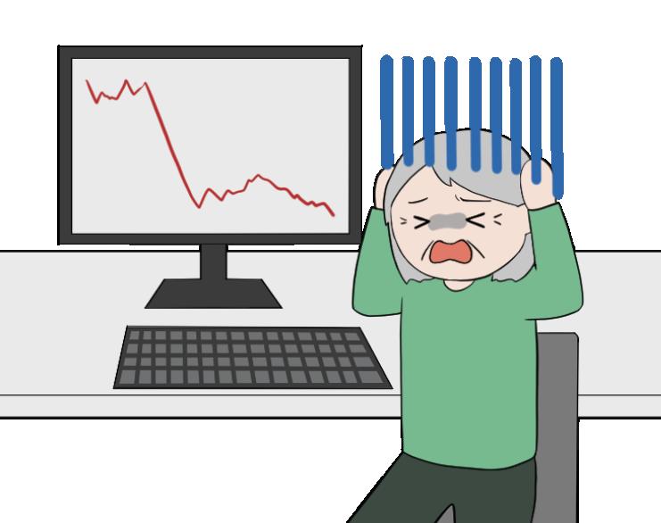 株価の暴落で大損する老人女性投資家のイラスト