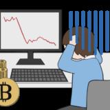 ビットコインの暴落で泣く投資家のイラスト1