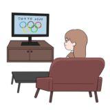 テレビでオリンピックを観戦している女性のイラスト