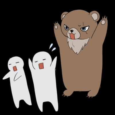 人を襲う熊のイラスト