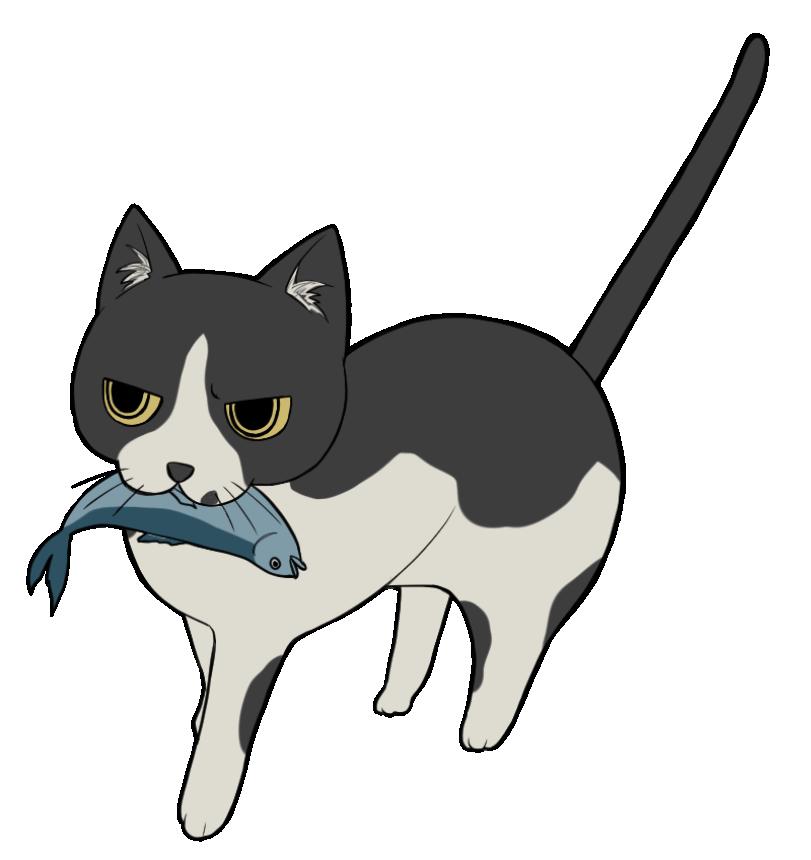 魚を咥える黒ブチ猫のイラスト