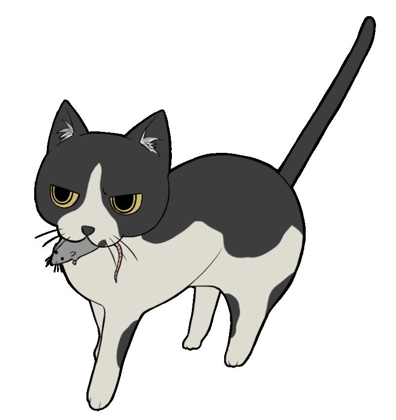 ネズミを咥える黒ブチ猫のイラスト