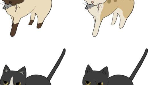 ネズミを咥える猫のイラスト