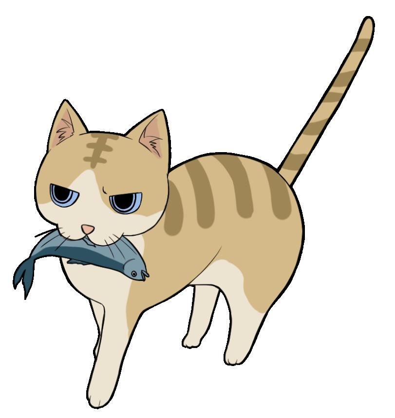 魚を咥えるトラ猫のイラスト