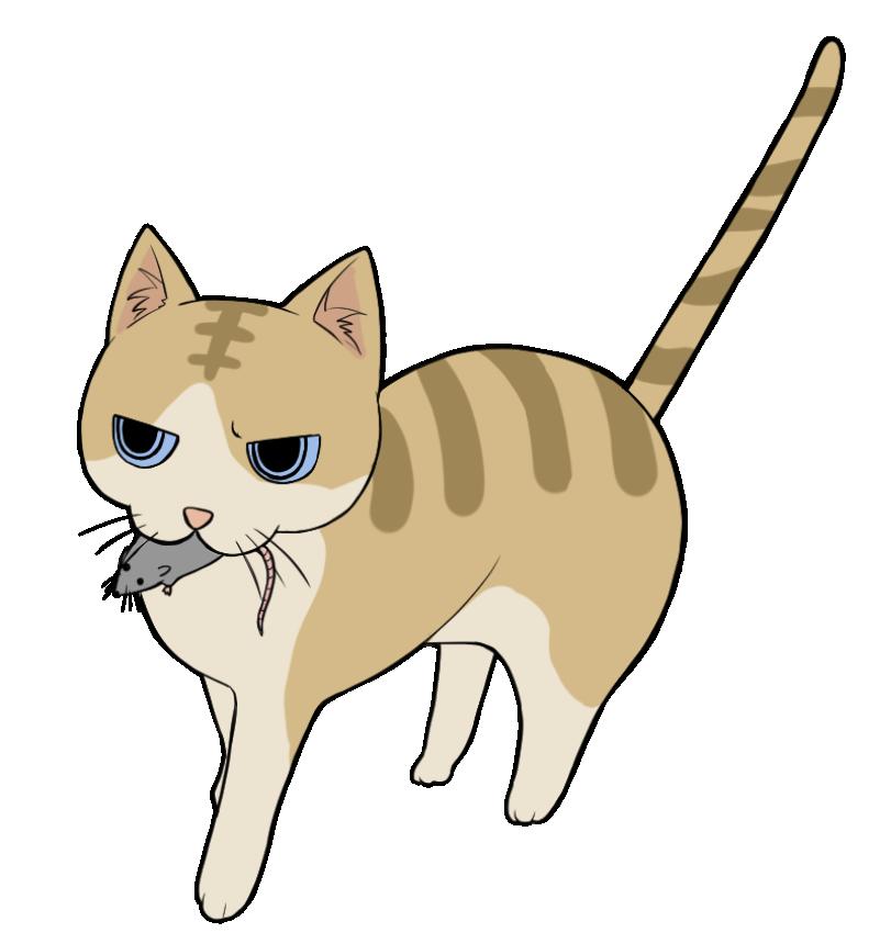 ネズミを咥えるトラ猫のイラスト