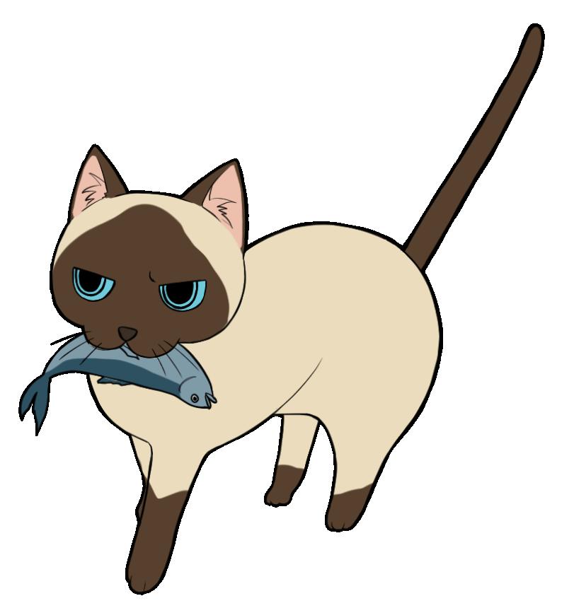 魚を咥える茶ブチ猫のイラスト
