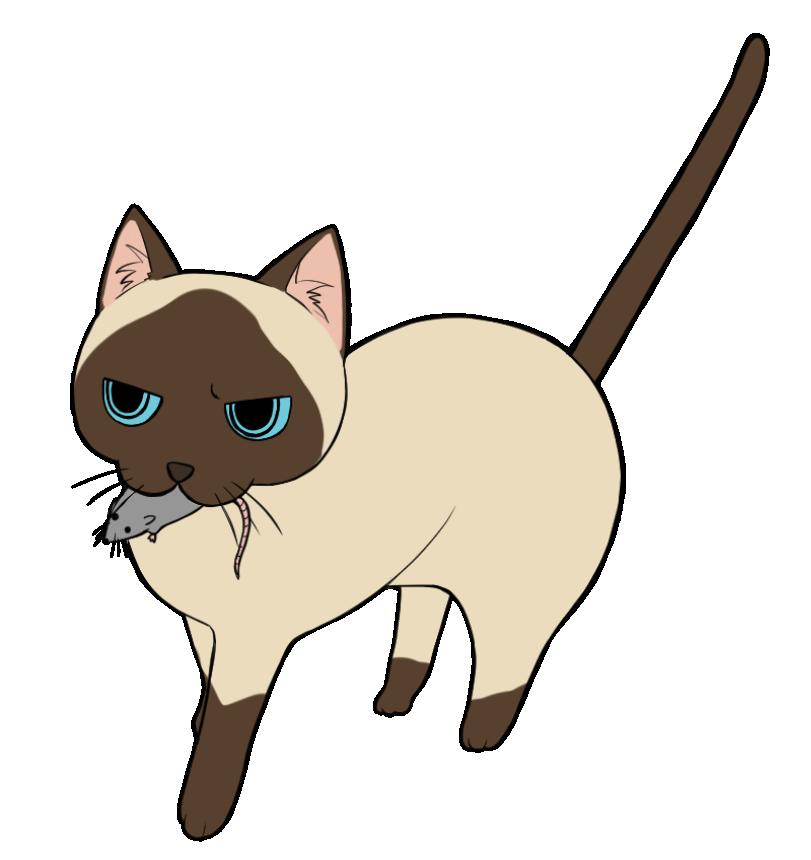 ネズミを咥える茶ブチ猫のイラスト