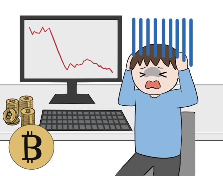 ビットコインの暴落で泣く投資家のイラスト2