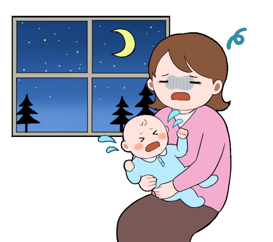 夜泣きして寝てくれない赤ちゃんと、げんなりしている女性のイラスト