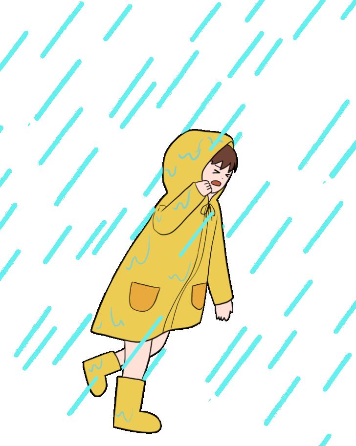 雷雨にみまわれるレインコートを着た女性のイラスト