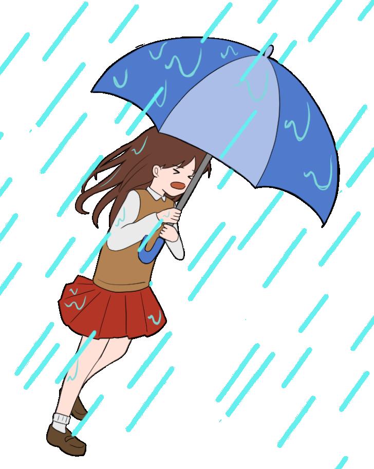 梅雨の女子学生のイラスト