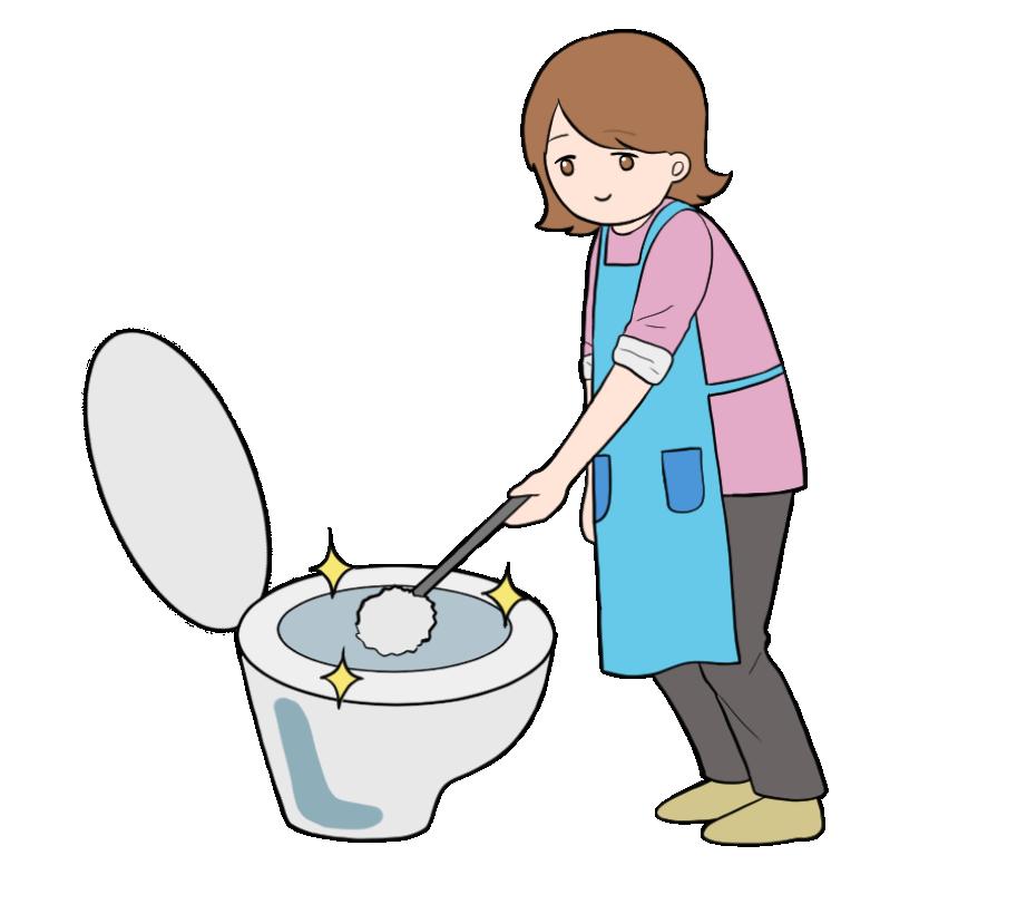 トイレ掃除する主婦のイラスト