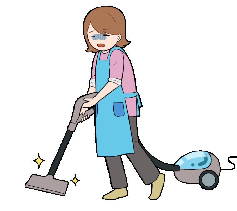 嫌々掃除機をかける主婦のイラスト
