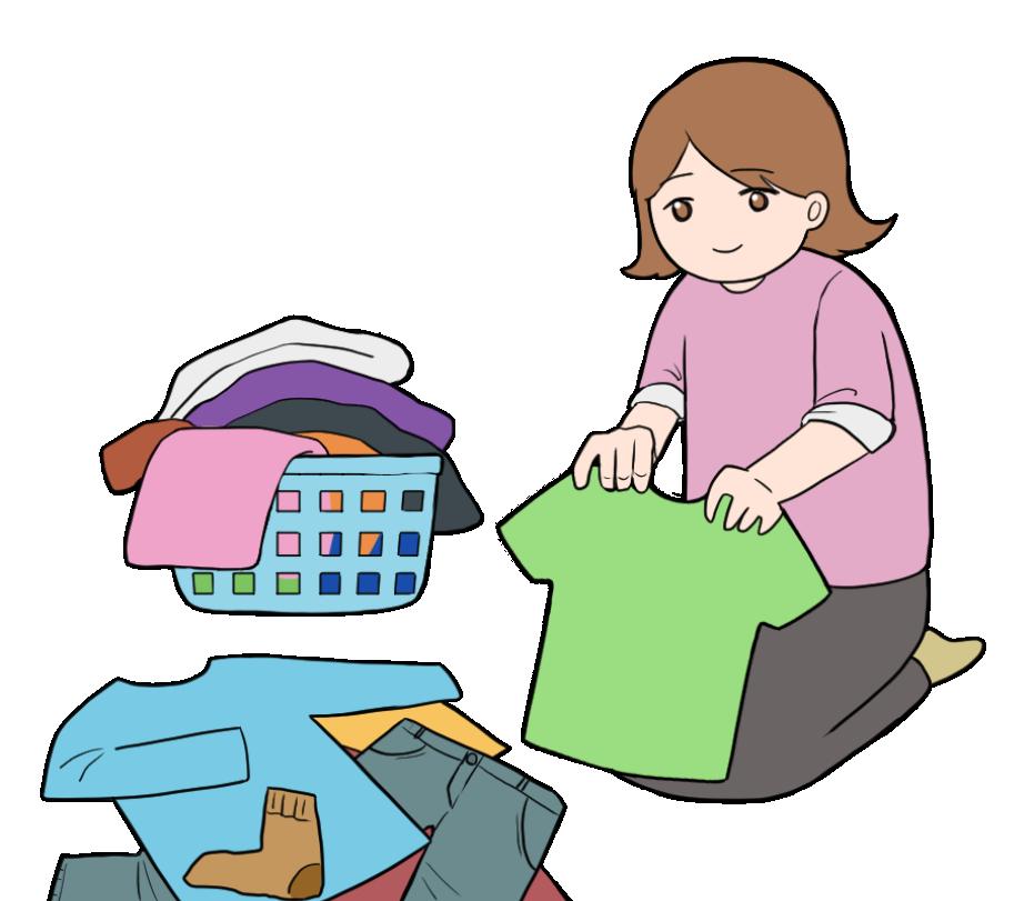 淡々と洗濯物を畳む主婦のイラスト