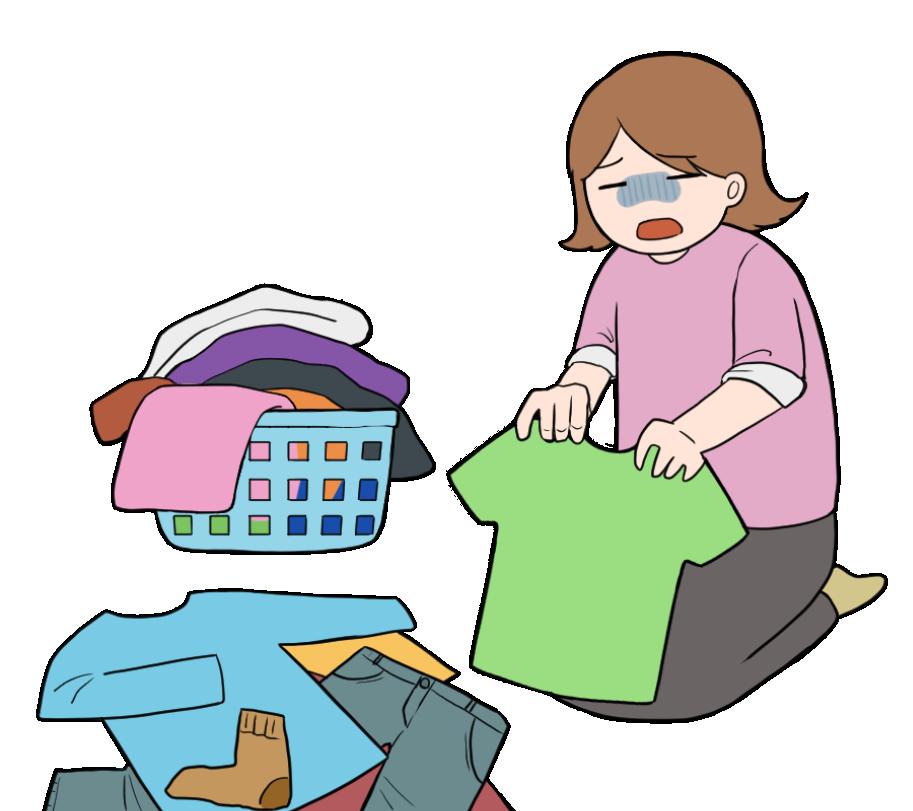 嫌々洗濯物を畳む主婦のイラスト