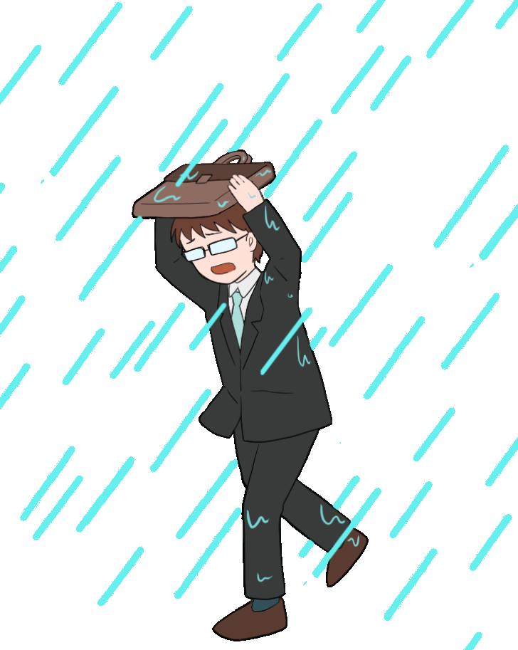 集中豪雨にみまわれるサラリーマンのイラスト
