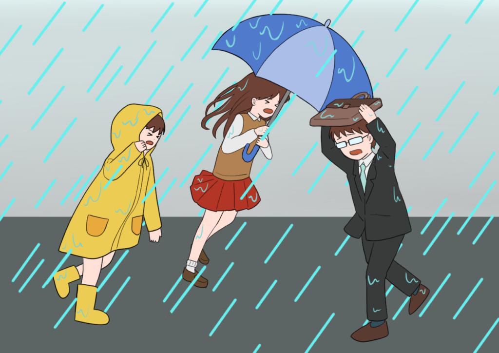 ゲリラ豪雨にみまわれる人たちのイラスト