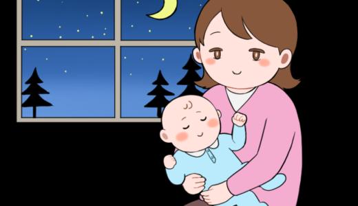 スヤスヤ寝ている赤ちゃんと、穏やかな女性(母親)のイラスト