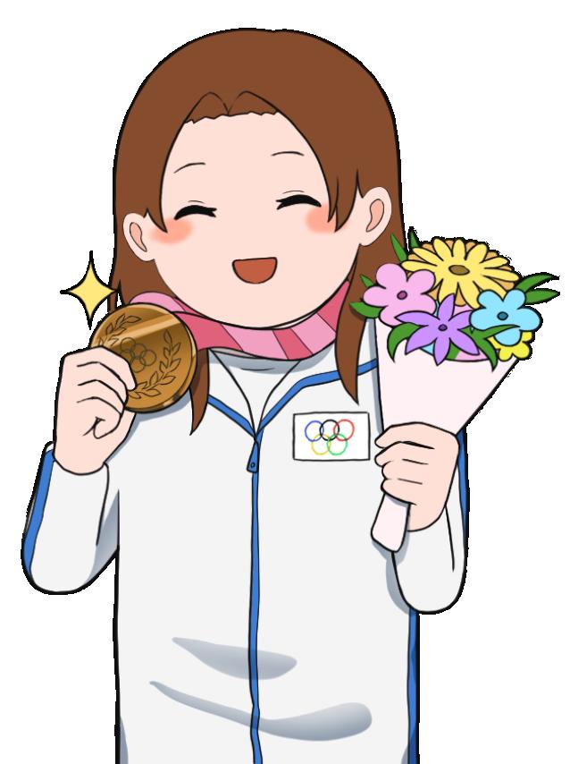 銅メダルを獲得した女性のオリンピック選手