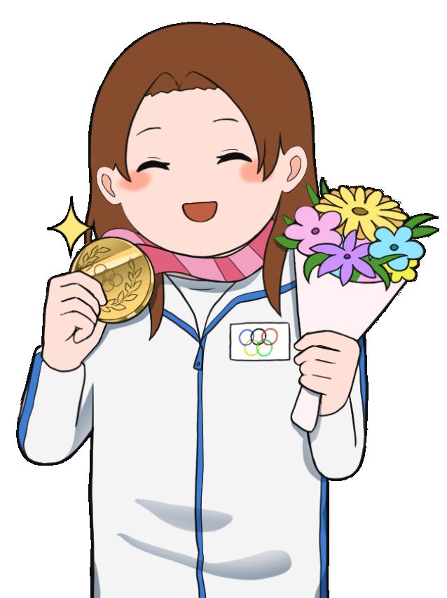 金メダルを獲得した女性のオリンピック選手1