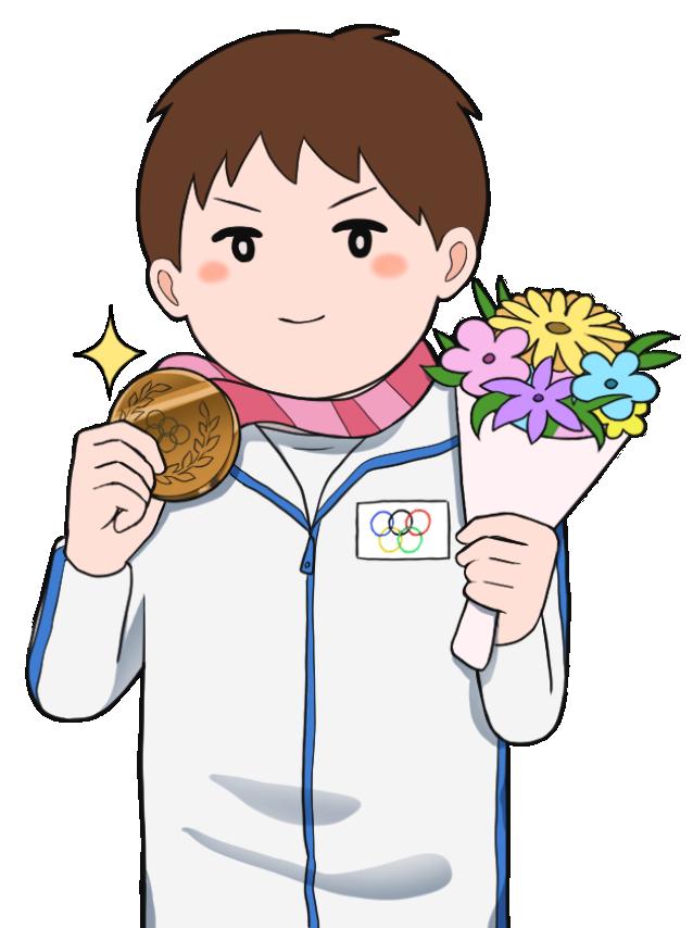 銅メダルを獲得した男性のオリンピック選手