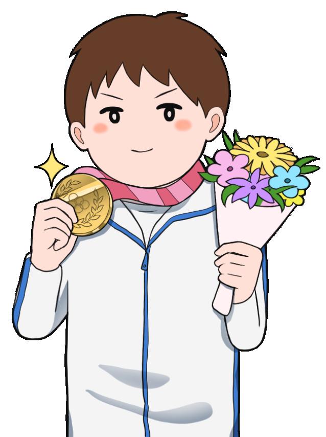 金メダルを獲得した男性のオリンピック選手2